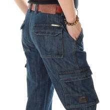 Autumn Winter Cargo Jeans Pants Men Casual Denim Pants Cotton Straight Loose Baggy Leisure Trousers Male Clothes Hip Hop Joggers