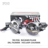2pcs 12V 22W Led Fog Lamp Projector Lens With LED Daytime Running Light White Or Blue
