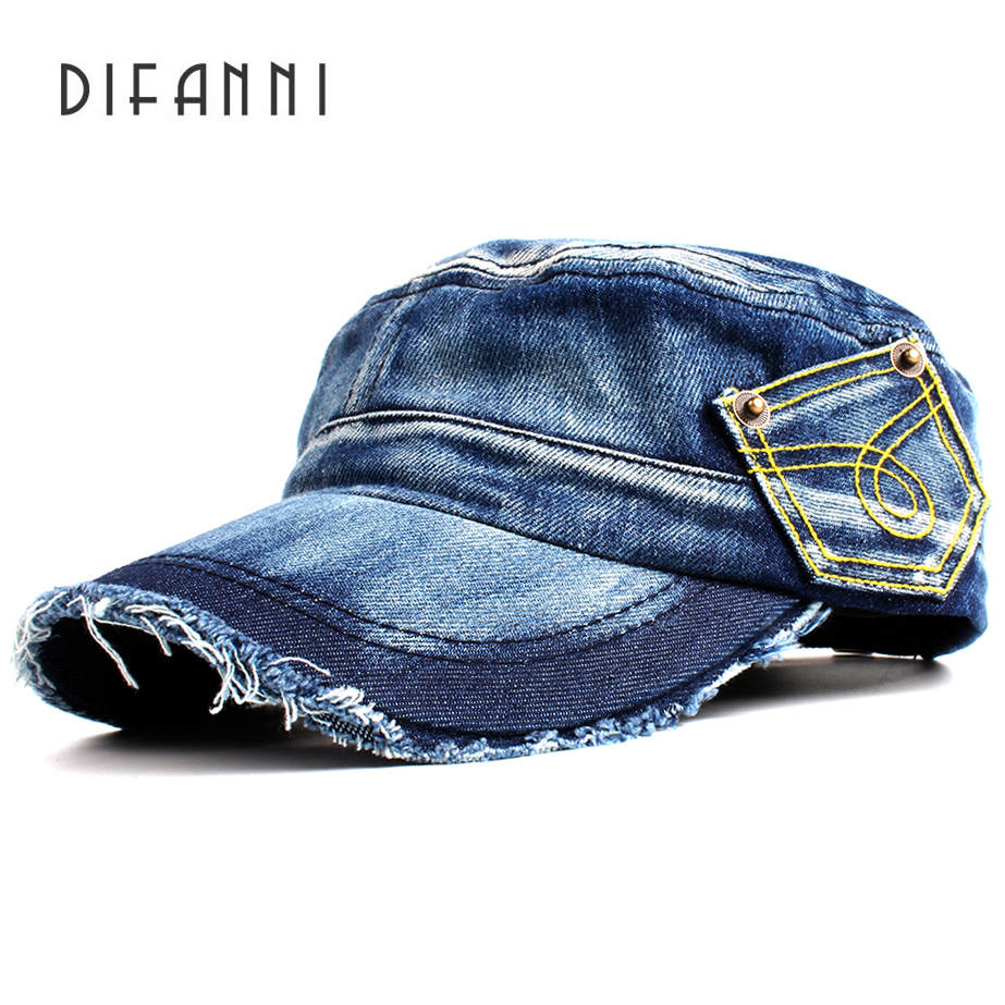 Difanni New Washed Jeans Army Cap For Men Women Snapback Military Hat Denim Cadet Caps Gorras Casquette Chapeu Hat Flat Top