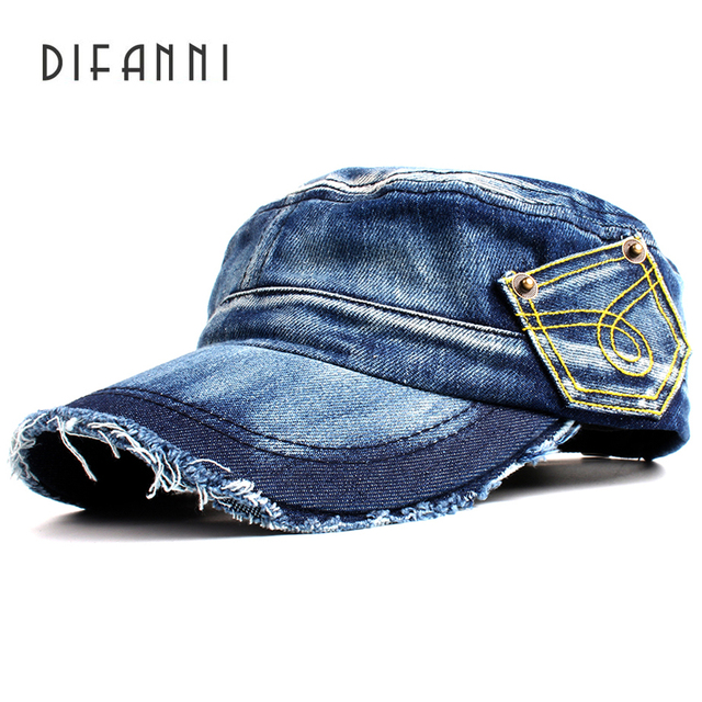 81781557a29 Difanni New Washed Jeans Army Cap For Men Women Snapback Military Hat Denim  cadet Caps Gorras Casquette Chapeu Hat Flat Top