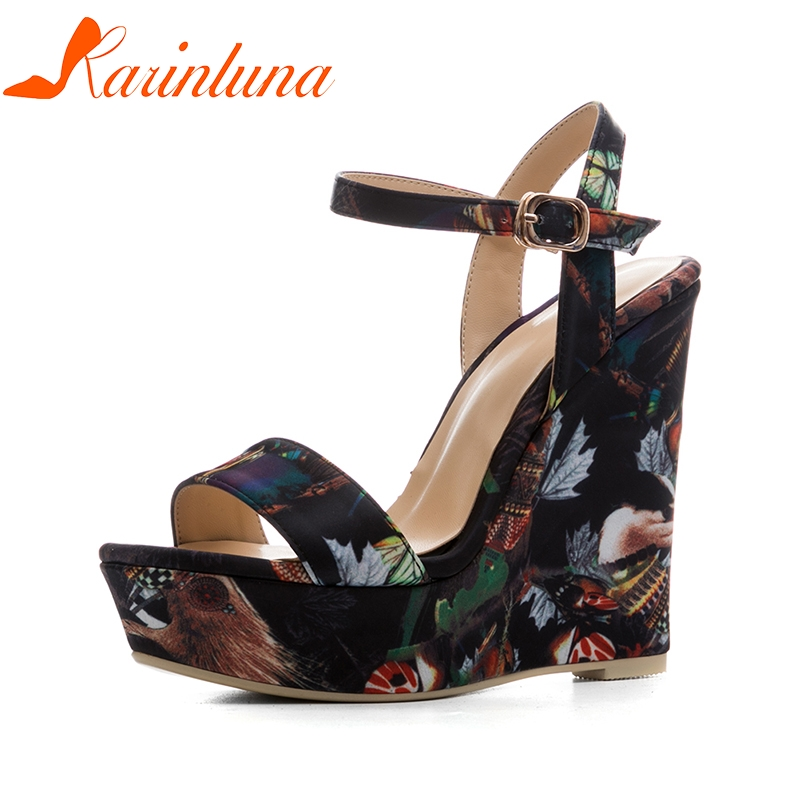 KARINLUNA New Size 34-41 Platform Brand Shoes Woman Sexy Flowers Printing Wedges High Heels Party Summer Shoes Sandals Women lapolaka 2018 brand new horsehair woman elegant wedges high heel women shoes platform black summer sandals women