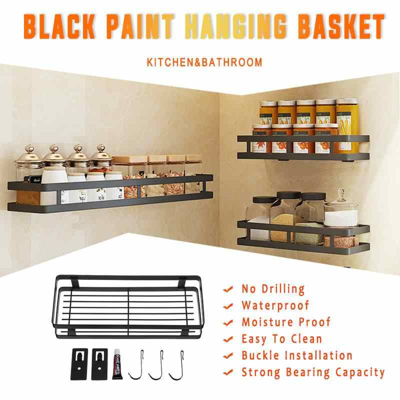 Stainless Steel Kitchen Bathroom hanging basket Rack Hanging Basket Black Storage Shelf storage box Sundries Wall Organizer Rack