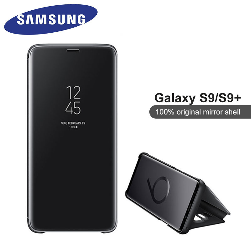 Original Samsung Galaxy S9 Clear View Standing Cover Mirror Protection Shell Flip Phone Back Case For