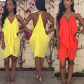 Женская Шифоновое Платье Спагетти Ремень Оборками спинки Сексуальная Summer Beach Платья Халат Ete 2015 Платье
