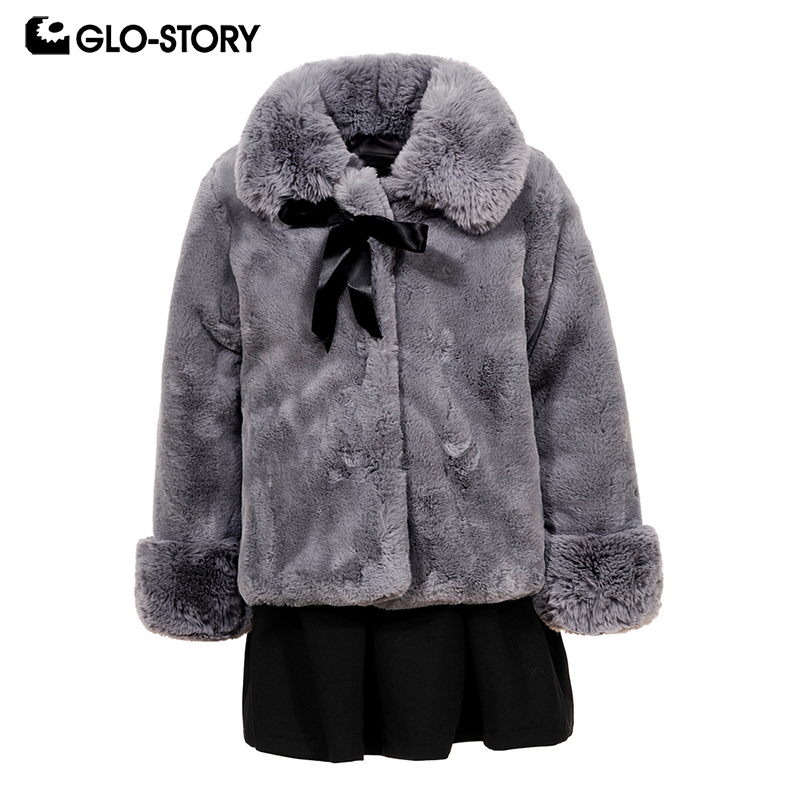GLO-STORY Shipped From Hungary Kids Girls 2018 Winter Christmas Gift Faux Fur with Black Dress Suits Children Sets Clothes 7504 christmas faux fur fitted velvet short party dress with hat
