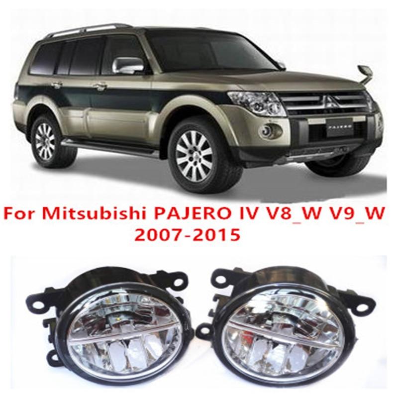 For Mitsubishi PAJERO 4/IV V8_W V9_W    2007-2015  10W Fog Light LED DRL Daytime Running Lights Car Styling lamps car styling led fog lights for mitsubishi pajero iv v8 w v9 w closed off road vehicle 2007 2012 fog lamps 10w drl 1set
