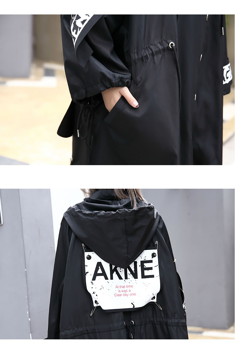 XITAO Spliced Plus Size Black Trench For Women Tide Long Print Streetwear Hoodie Casual Female Wide Waisted Coat 19 ZLL1100 17