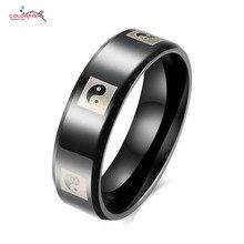 Taiji Black Gun Plated Ring Male Matte Finish Titanium Ring Gossip Rings Eternity Band Fashion Jewelry Biker Ring Men Black 2016