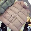 2016 Nueva Loose Pocket Solid Capa del Algodón Abajo Chaleco Mujeres Moda Cuello Mao Veste Femme Invierno Chaleco Chaqueta de Invierno de Las Mujeres