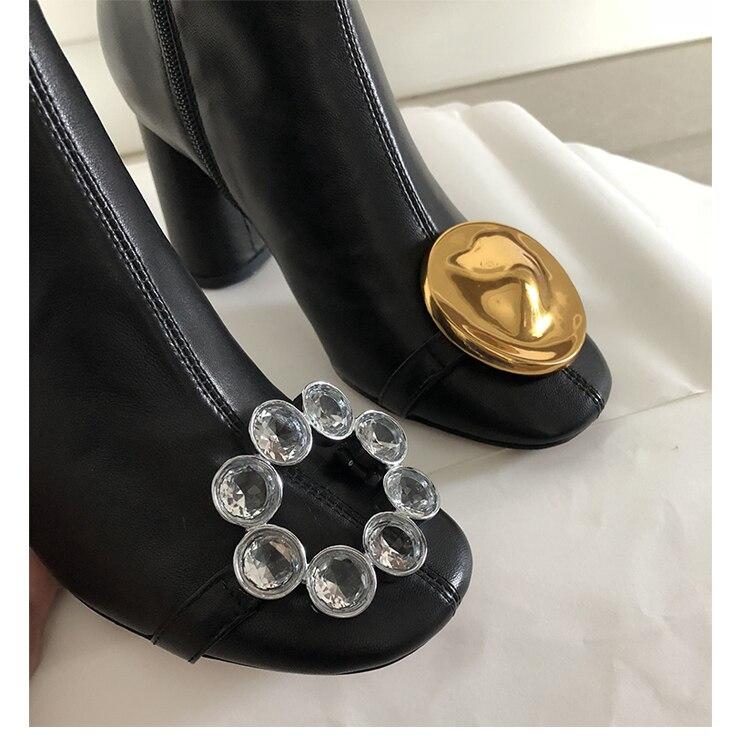 Alto Stivali Chunky Metallo Decor Vera Diverse B119 Strass In Caviglia Pelle Alla Donne Tacco Scarpe Delle Asimmetrico xvAYw0qKzK