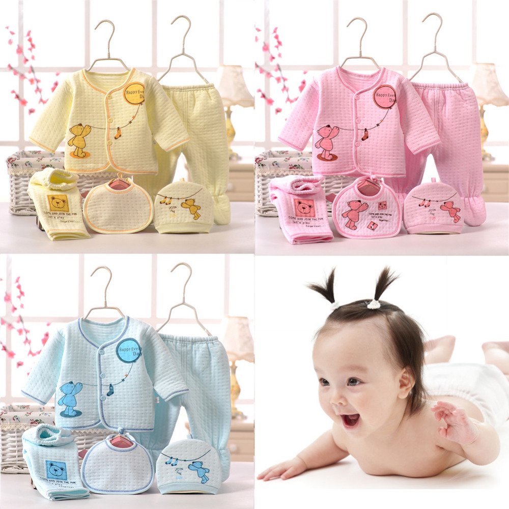5 Pieces/Suit Of Baby Warm Underwear Baby Girl And Boy Newborn Clothes Baby Clothes Baby Top Pants Bibs baby clothes 5 14 t new leisure boy suit children off two pieces of beard