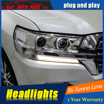Car Styling For Toyota CRUISER headlight assembly For CRUISER LED head lamp Angel eye led DRL front light h7 with hid kit 2pcs.