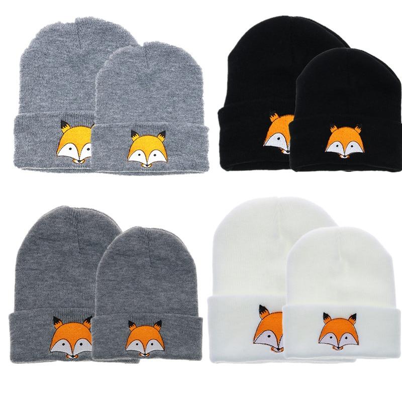 Cute Baby Hat 2018 Winter Newborn Infant Toddler Kids&Mom Girl&Boy Hats Infant Soft Warm Crochet Knit Hat Fox Beanie Cap