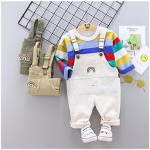 2019 Autumn Baby Infant Clothing Suits Toddler Boys Girls Clothes Sets Striped Shirt Rainbow Bib Pants Kids Children Costume