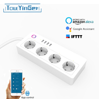 Touyinger Smart Wifi Power Strip EU UK US Plug Overload Switch Surge Protector 4 USB Charger Socket for Alexa Google Home IFTTT