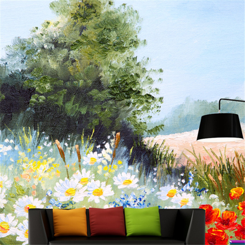 Custom Hand Painted Wall Murals Vintage Oil Painting Florals Photo Flowers Wallpapers for Living Room Wall Papers for Walls 3D hua tuo landscapes hand painted oil painting
