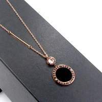 Elegant Black Round Pendant Necklace Collares Stainless Steel Long Sweater Chains Necklace Women Love Forever Crystal