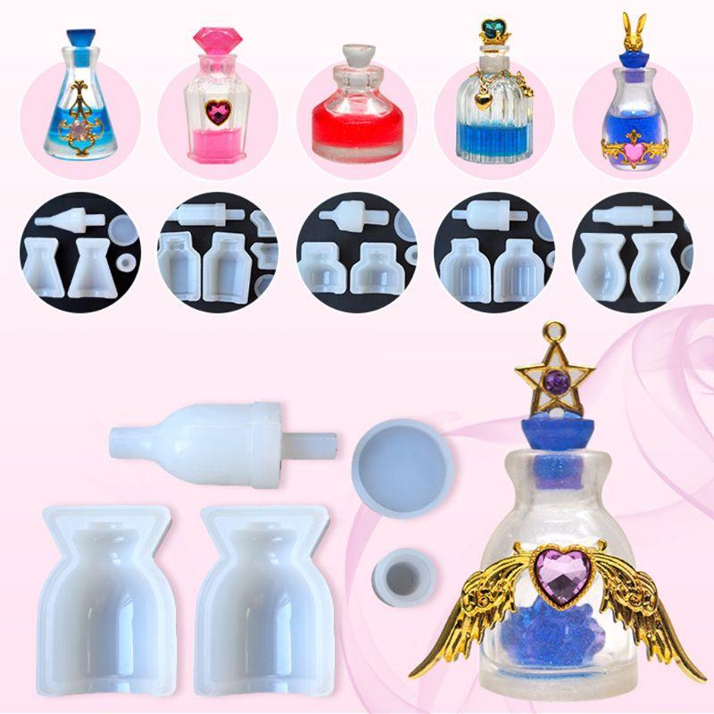 5PCS Silicone Mold DIY Perfume Bottle Glass Bottles Medicine Liquid Bottle Molds Epoxy Resin Crafts Decoration Handmade Gifts