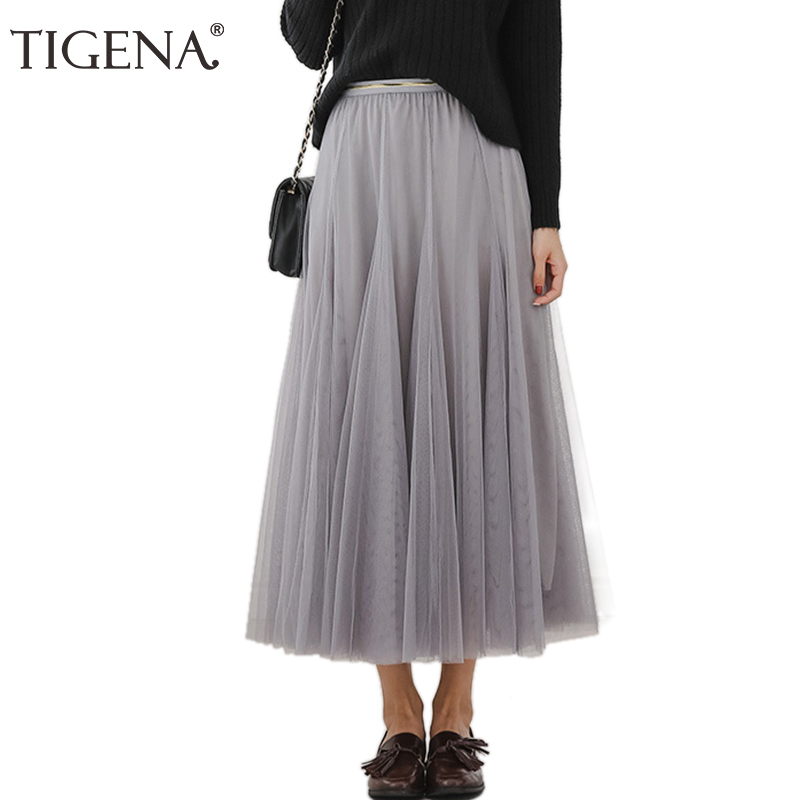 TIGENA 3 Layers Tulle Skirt Women Fashion 2018 Summer High Waist Pleated Elegant Long Maxi Skirt Female Black Pink Gray Skirt