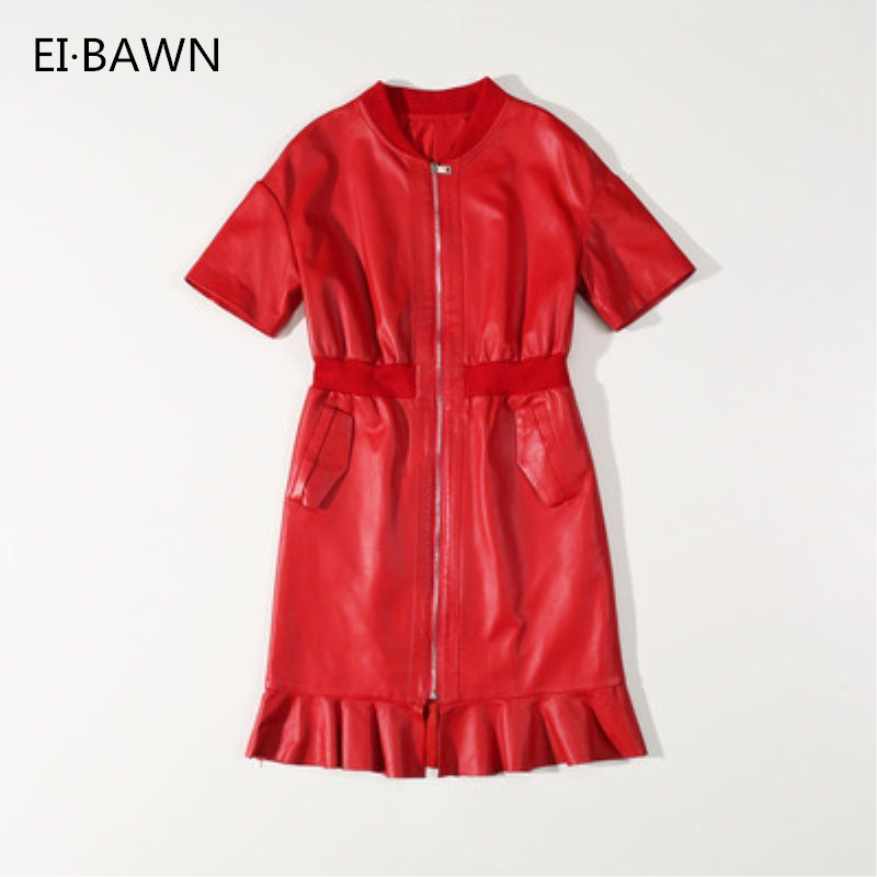 Genuine Leather Dresses 2019 Autumn Winter Female Short Sheepskin Belt Short Sleeve Zipper Jacket Streetwear Red Black Dresses