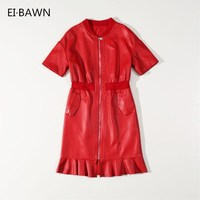 Genuine Leather Dresses 2020 Autumn Winter Female Short Sheepskin Belt Short Sleeve Zipper Jacket Streetwear Red Black Dresses