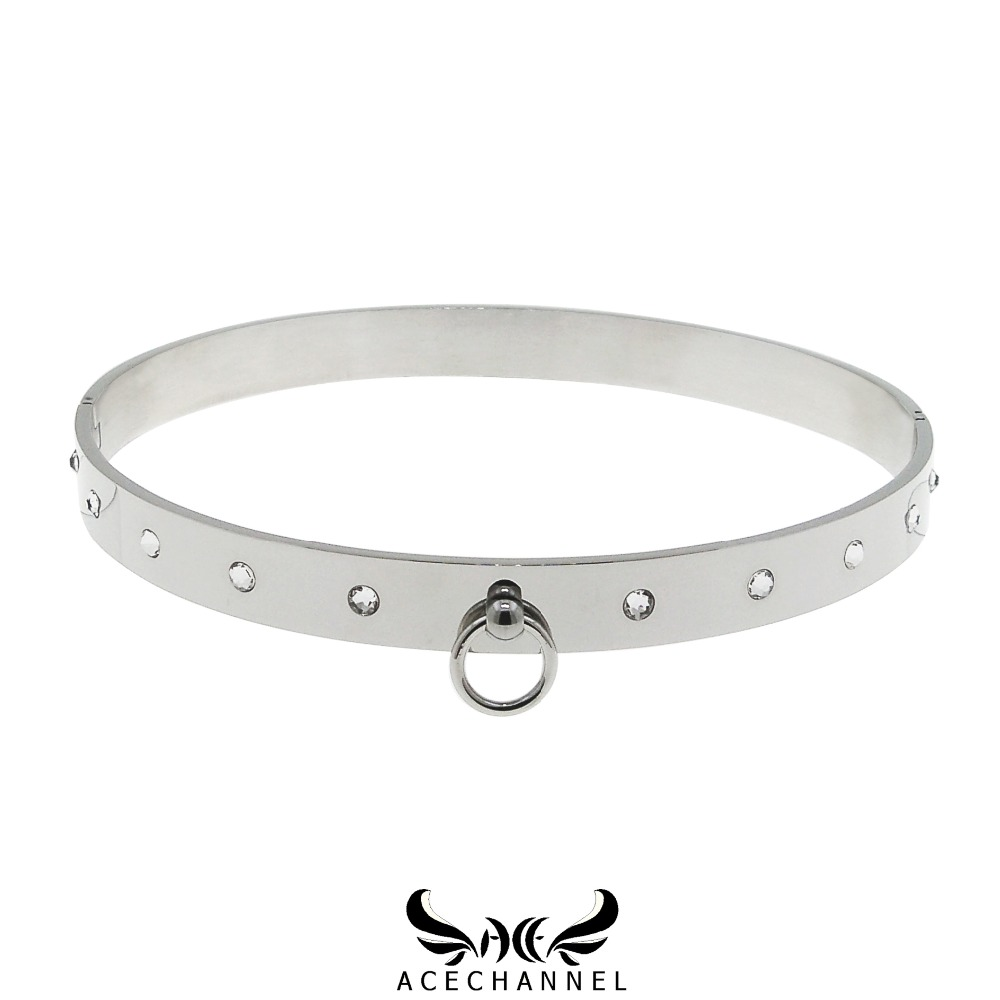 polished shining stainless steel slave choker necklace fetish wear torque woman jewelry