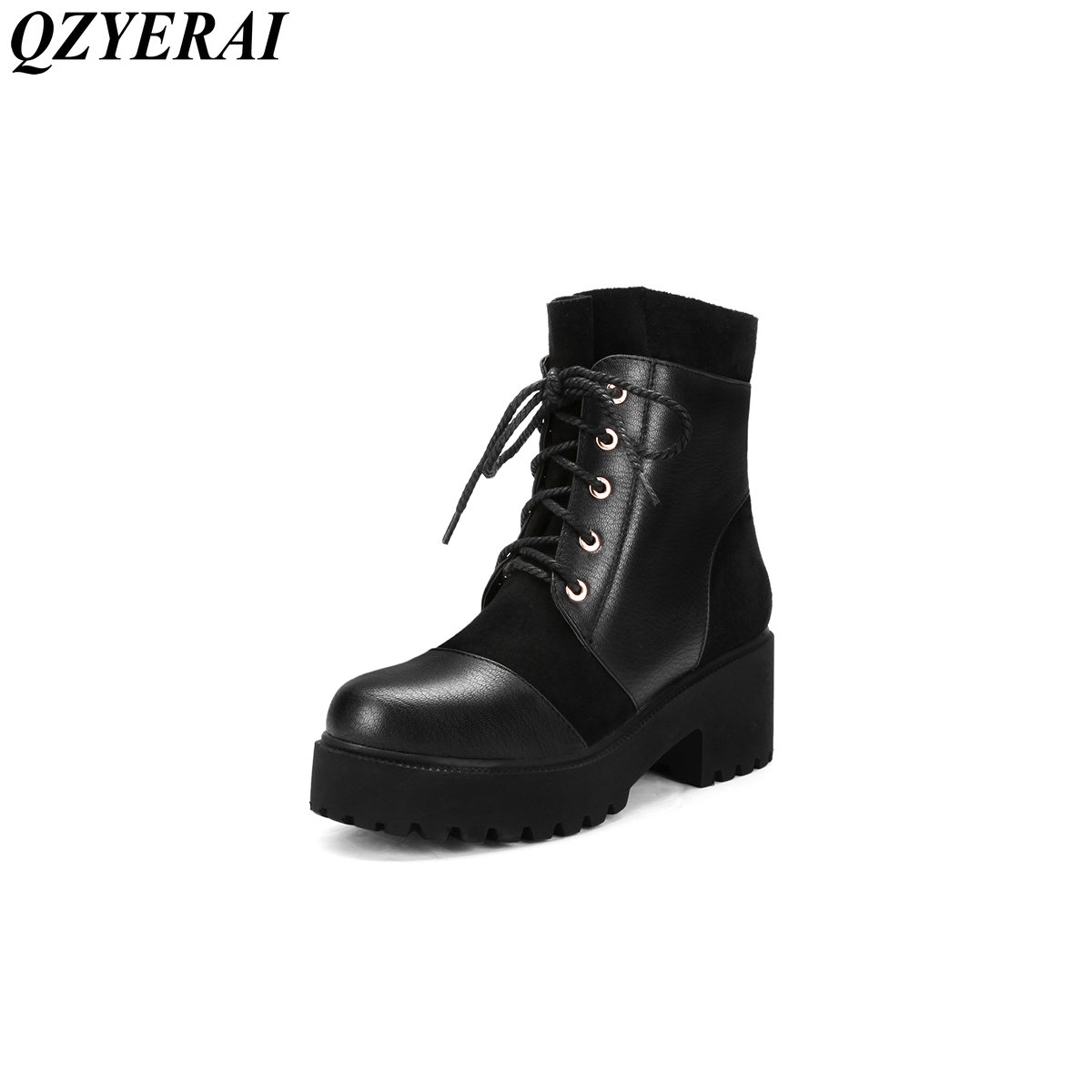 QZYERAI Women shoes new real leather lady Martin boots winter warmth shoes hiking boots casual shoes 2017 new anti slip women winter martin