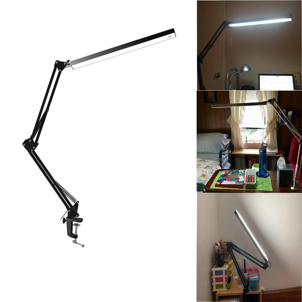 Flexible bras oscillant pince montage lampe bureau Studio maison LED Table noir bureau lumière, 7.8 W