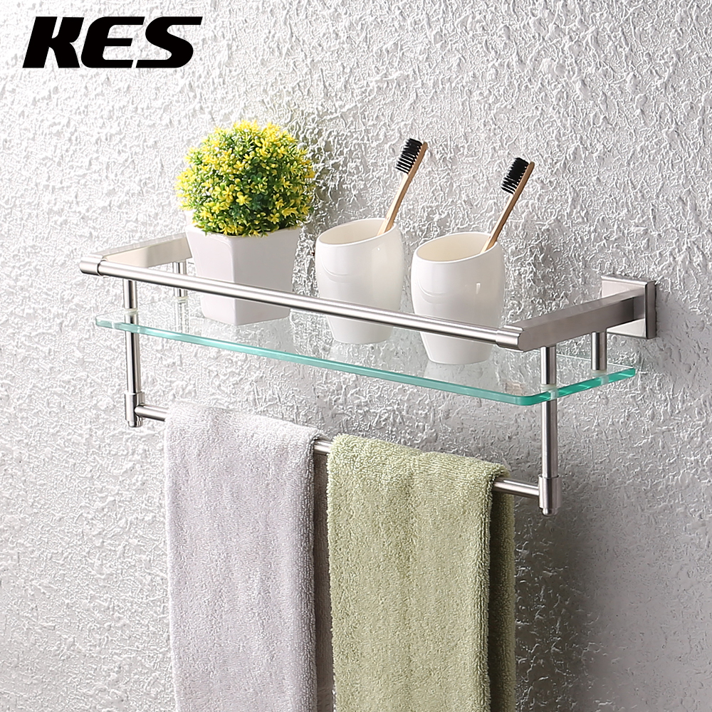 kes a2225 2 sus304 stainless steel bathroom glass shelf wall mount with towel bar and rail brushed finish in bathroom shelves from home improvement on - Bathroom Glass Shelves