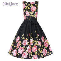 MisShow Floral Print Summer Style Dress 2017 Casual Party Vintage Elegant Sleeveless O Neck Hot Sale Plus Size Dresses vestidos
