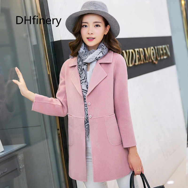75e8eada332 2018 Women's coat spring and autumn Slim long design full sleeve pink and  blue woolen jacket