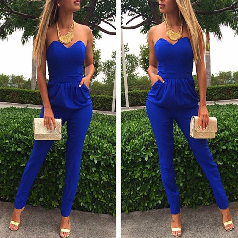 2020 Off Shoulder Sexy Party Strapless Blue Black White Umpsuits Backless Elegant Long Pant Romper Women Clothing Summer Overall