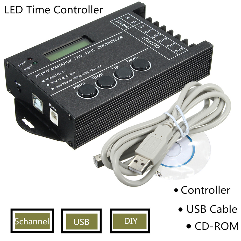 Multi-function LED Time Light Controller Programmable RGB 5 channels DC12-24V 20A With Accessories