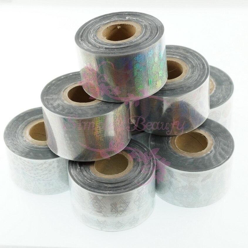 1 Set 8 Rolls 4CM*100M Flower Geometric Print Holographic Laser Silver Film Transfer Foil Wraps Nail Art Manicure Decor
