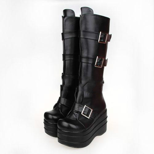 Princess sweet punk shoes Spring and autumn punk boots animation thick boots Super heel round head belt buckle boots pu7007