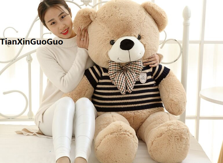 Фотография large 120cm light brown teddy bear dressed stripes sweater bear plush toy soft doll,throw pillow birthday gift h1304