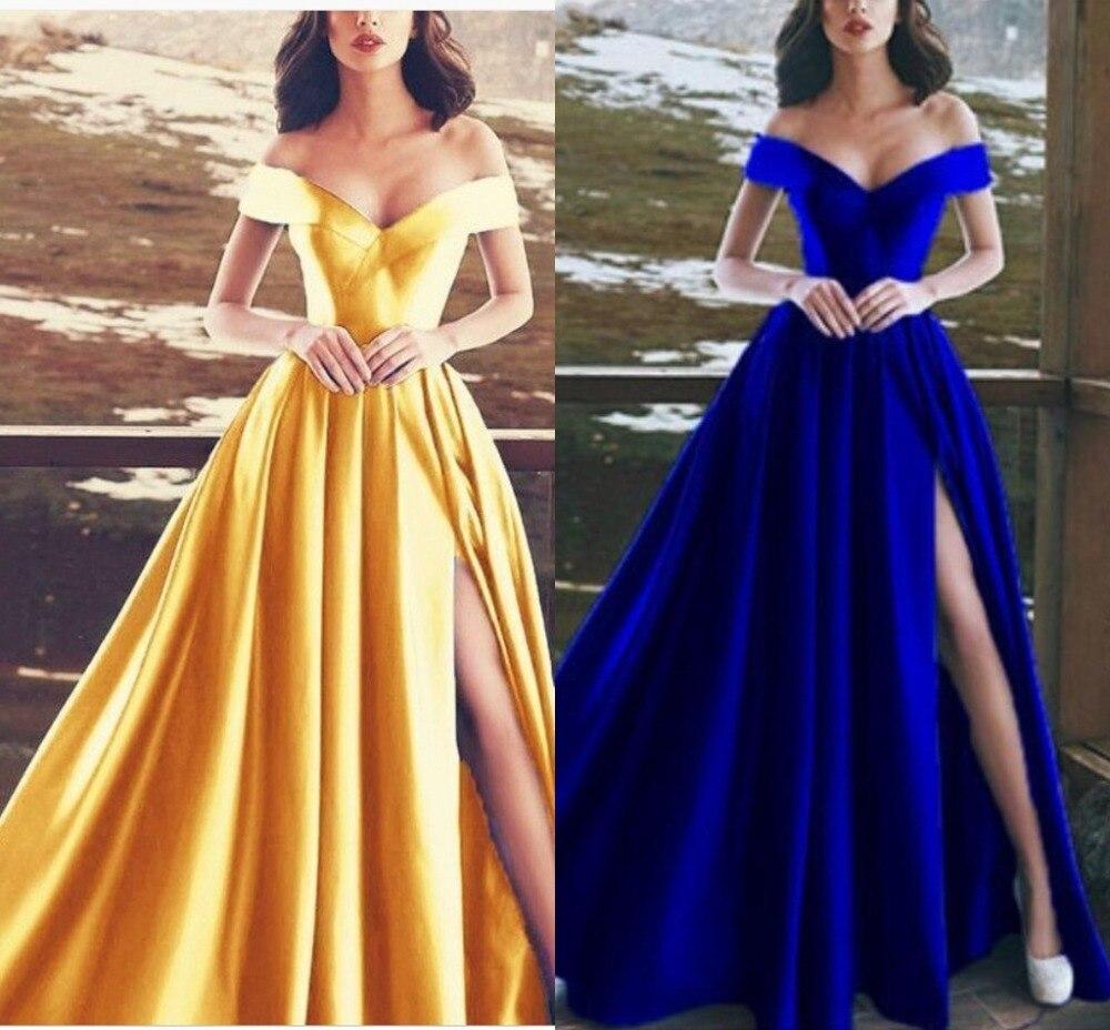 Satin bleu Royal longues robes De bal 2019 hors épaule longueur De plancher fendu fermeture à glissière Gala Jurken Vestido De Festa pour robes De soirée