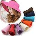 Мода Вс Летние Шляпы для Женщин Леди Складной Roll Up Вс пляж Широкими Полями Соломы Visor Hat Cap With Multi-Color chapeu feminino