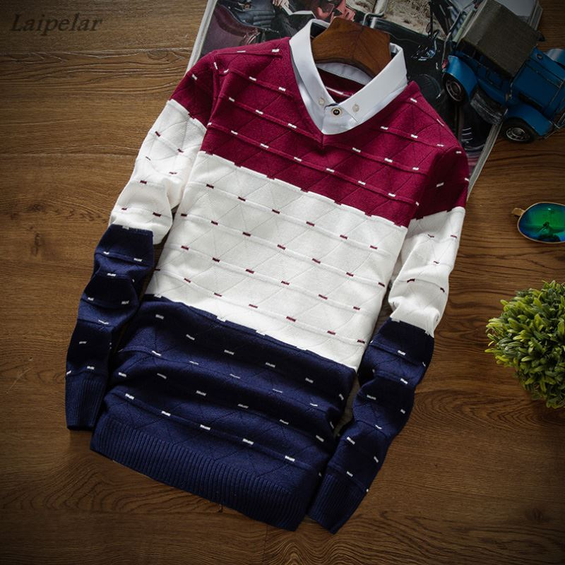 New Fashion Men Fake Two Piece Casual Pullovers men jumpers sweaters autumn and winter bottoming Pullover Shirt collar sweater in Pullovers from Men 39 s Clothing
