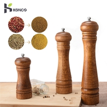 KONCO деревянные мельницы для соли и перца, деревянные мельницы для специй и перца, ручные мельницы с регулируемым керамическим кухонным инструментом