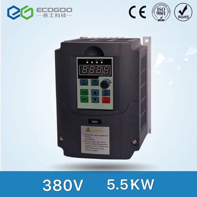 380v 5.5kw VFD Variable Frequency Drive VFD Inverter 3HP Input 3HP Output CNC spindle motor Driver spindle motor speed control gbtiger black