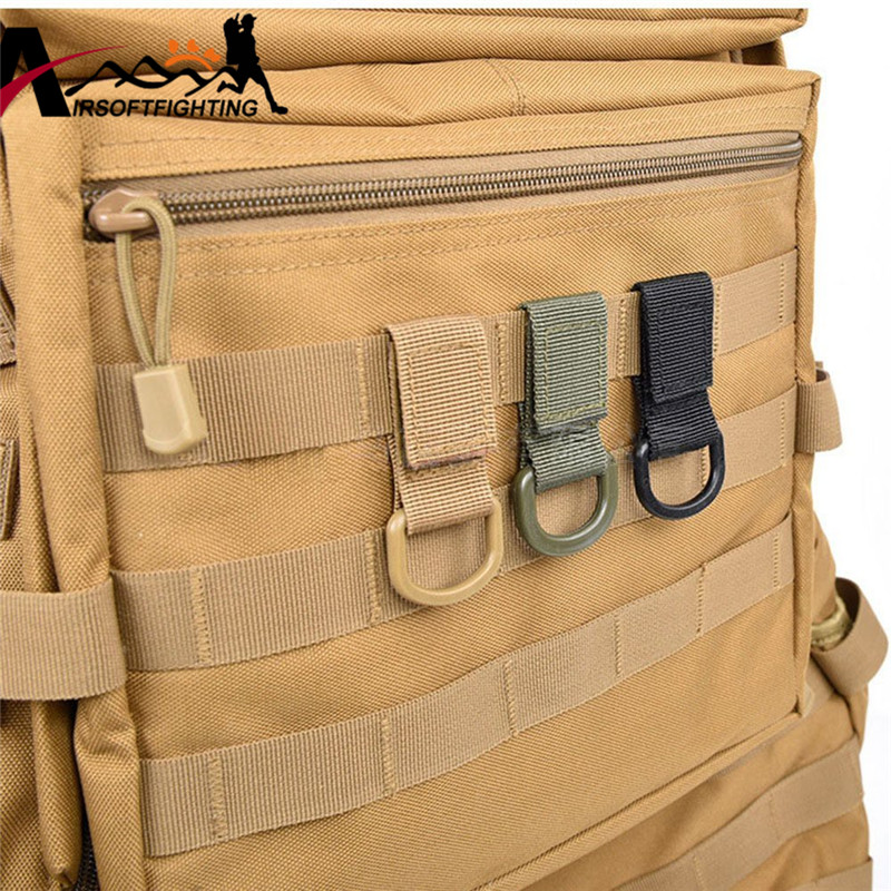 Outdoor Tactical Molle Webbing Buckle Clambing Belt D-Ring Carabiner Buckle Military Nylon Hanging Chain Backpack Key Hook mini kompas sleutelhanger