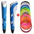 Regalo de navidad A Estrenar Primera Generación DIY Impresora 3D Pen For Kids AU/EE.UU./REINO UNIDO/UE plug con el Filamento del PLA de 1.75mm Envío Gratis