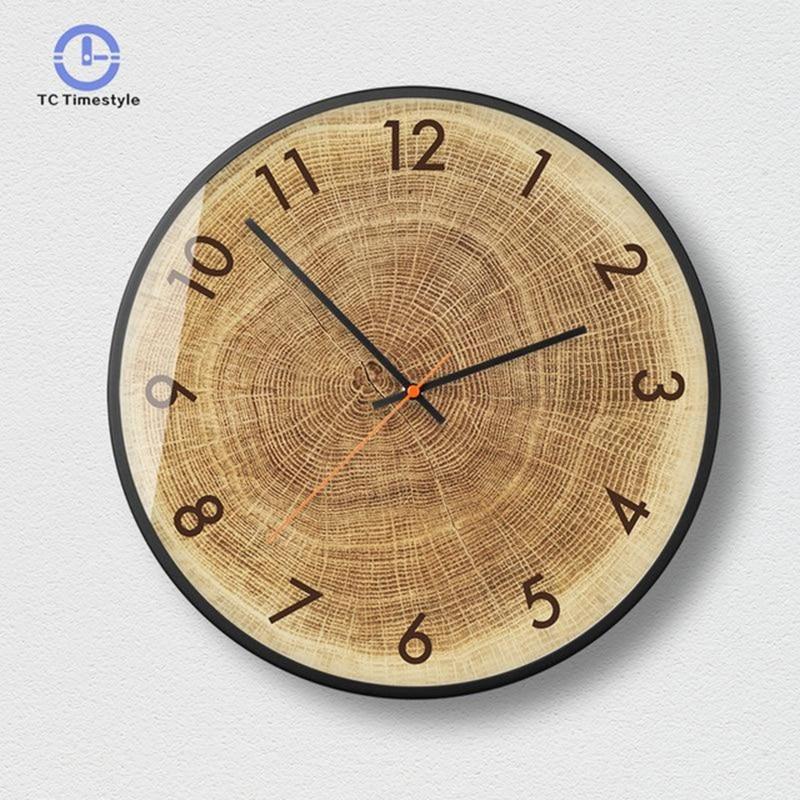 Wood Wall Clock Living Room Modern Minimalist Silent Quartz Watches Creative Bedroom Decoration Accessories Round Wall Clocks