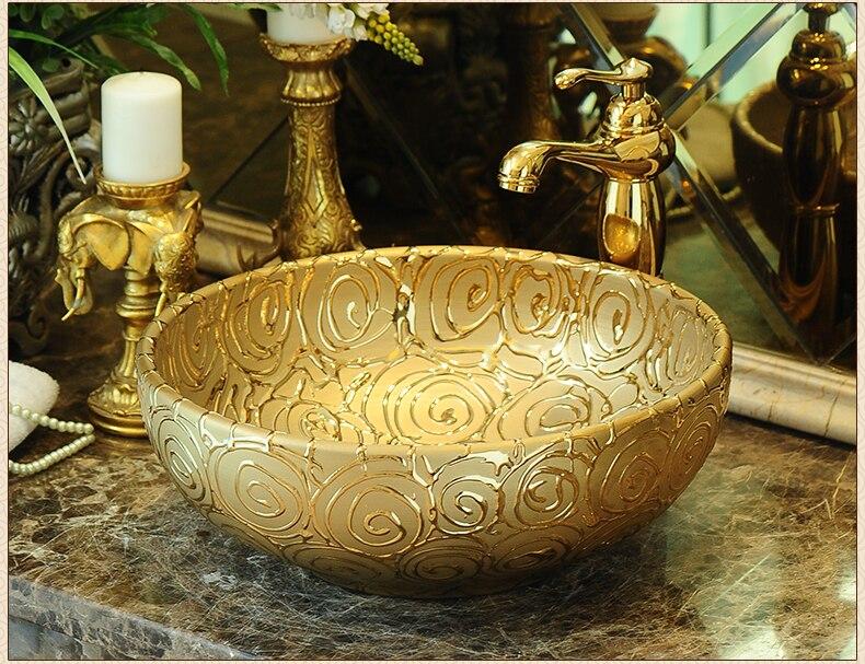 Oval Bathroom Lavabo Ceramic Counter Top Wash Basin Cloakroom Hand Painted Vessel Sink bathroom sinks wash basin bathroom (4)