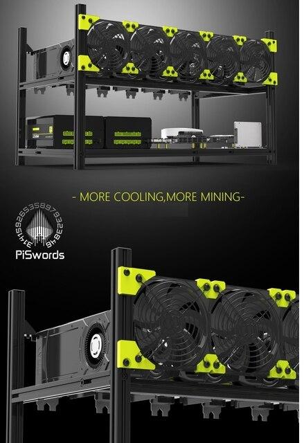 VEDDHA 6 GPU установка для майнинга, алюминиевый Штабелируемый чехол на открытом воздухе, компьютер, установка для майнинга Bitcon, комплект для майнинга, несобранный эфириум 5