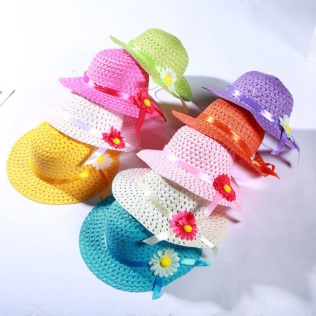 Summer 1-6Y Baby Kids Girl Floral Flower Straw Visor Sun Hat Beach Hats