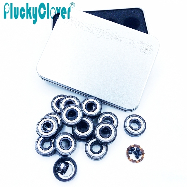 16pcs 608z PluckyClover Swiss Ceramic bearing Scooter Skateboard ball bearing Speed Longboard Roller Skate Board Wheels Bearing