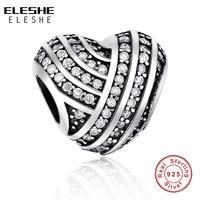 ELESHE Authentic 925 Sterling Silver Pave Hamsa Palma Da Mão de Cristal Do Encanto Do Coração Bead Fit Pandora Europeu Pulseira DIY Colar de Jóias