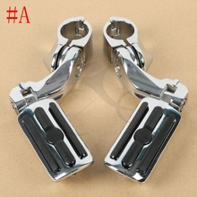 Motorcycle Universal Chrome 1-1/4 Short Angled Adjustable Highway Foot Pegs Peg Mount For Harley Yamaha Suzuki